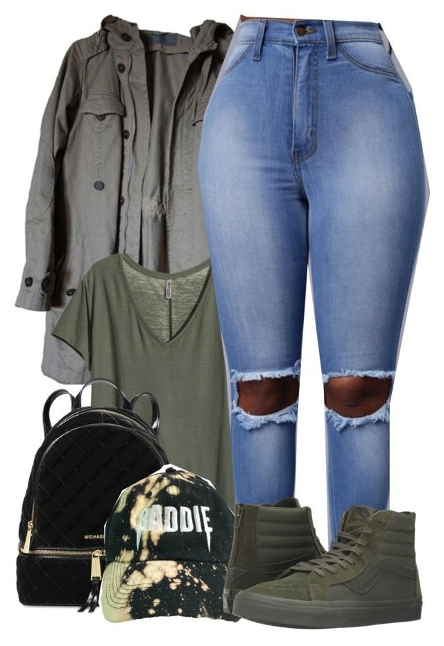 """""""B A D D I E ✨"""" by melaninaire ❤ liked on Polyvore featuring Zara, H&M, Michael Kors and Vans"""