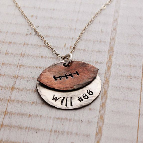 Football mom, proud parent, team pride, Personalized hand stamped necklace, sterling silver and copper football necklace