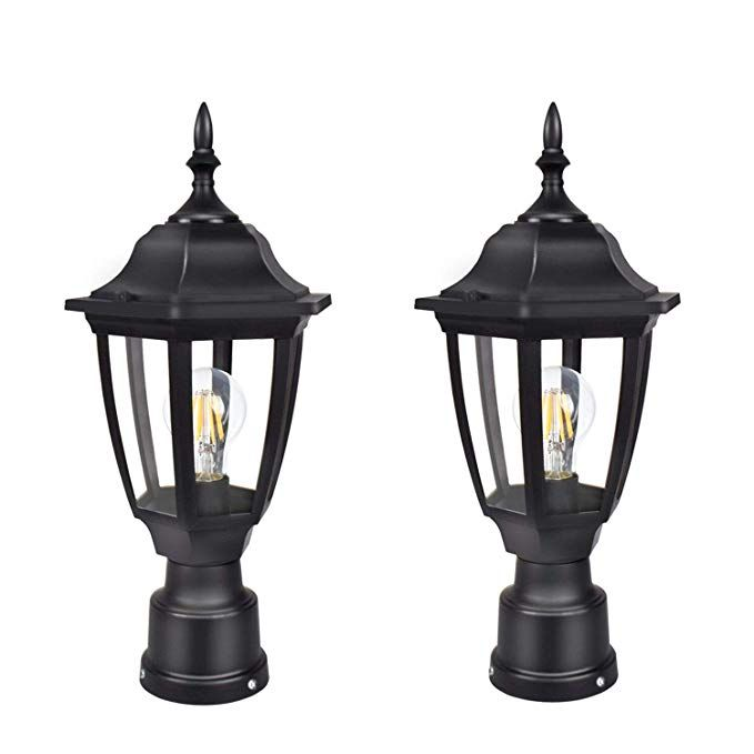 Fudesy 2 Pack Led Outdoor Post Light Fixtures Plastic Black Post Lanterns With 12w 1200lm Edison Outdoor Post Light Fixtures Outdoor Post Lights Post Lanterns