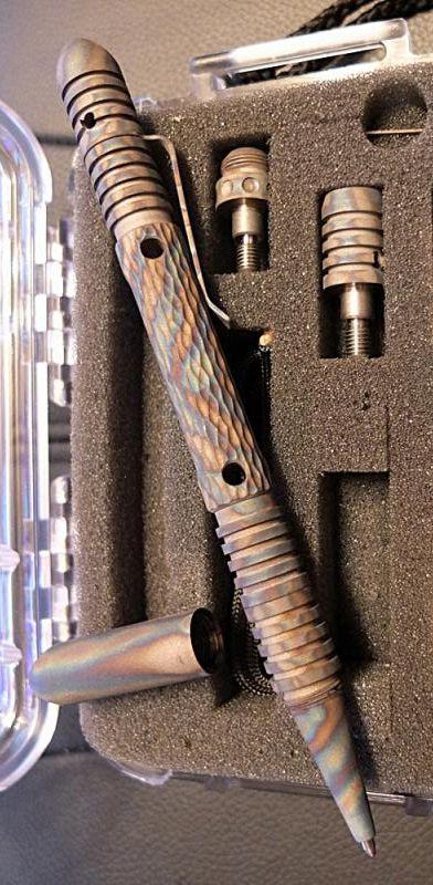 Rick Hinderer Knives Investigator Tactical Pen Titanium Flamed