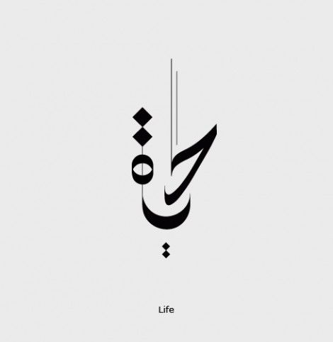 Hayat (Life) Calligraphy in Arabic