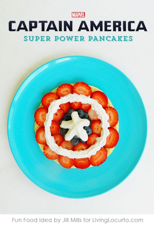 Captain America Super Power Pancakes make breakfast fun! Perfect for a captain america themed birthday.