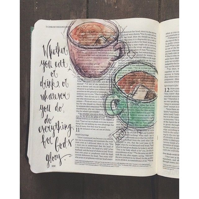 Whether you eat or drink or whatever you do; do everything for God's glory.  Teacups in journaling Bible.