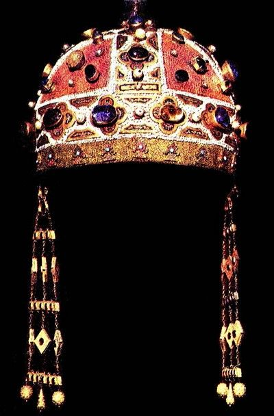 Byzantine kamelaukion, crown of Constance of Aragon (1179-1222), Holy Roman Empress, Queen of Sicily, wife of Frederick II.  Royal Palace, Naples, Italy.