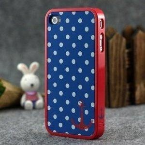 nautical AND patriotic: Hard Cases, Apples Iphone, Iphone 4S, Anchors Design, White Polka, Red Trim, Polka Dots Patterns, Patterns Hard, Blue And White
