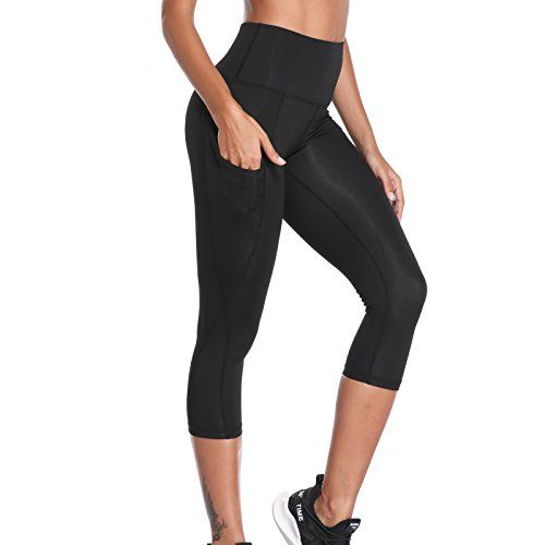 Womens 3//4 Capri Yoga Pants Gym Fitness Sports Cropped Leggings With Pocket