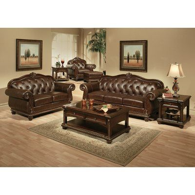Astoria Grand Wentz Leather Tufted Ottoman Leather Living Room Set Leather Living Room Furniture Sofa Loveseat Set