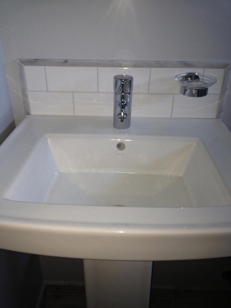 Pedestal Sink With Custom Back Splash Subway Tile With