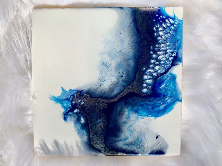 A small but gorgeous square format all resin pigment painting completed with beautiful lacing, texture cells and a hint of metallic sheen.