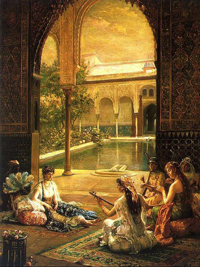 "Simple entertainments of life: Female musicians playing for the lady.  Alhambra Courtyard, Al-Andalus (Muslim Spain).  Medieval Islamic Era, the Golden Age.  Al-Andalus by  Noëlle Hugo Pacheco. ""Alhambra"" was the name of the Palace in Granada, Muslim Spain.  'Alhambra' in Arabic means 'red' referring to the sun-dried red bricks of fine gravel and clay used for building the outer walls of the Palace. The era lasted for over 750 years (711 AD to 1492 AD)."