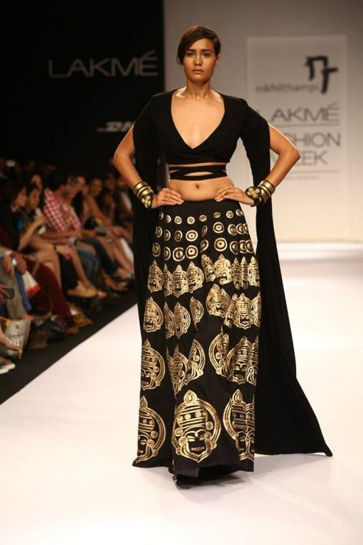 Lakme Winter 2013 Nikhil Thampi black gold lehnga