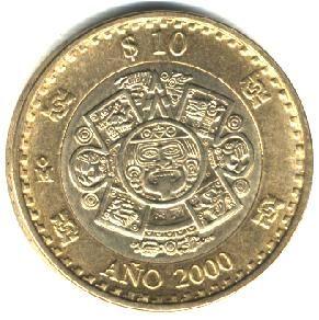 Esta moneda de 10 pesos conmemora la llegada del año 2000 en el mundo