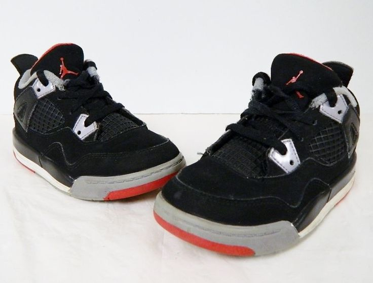 Air Jordan Retro 4 IV PS BG Kids Bred Black Red Cement Grey 308499-089