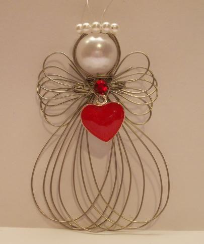 Valentine's Day Heart Angel Ornament Handmade