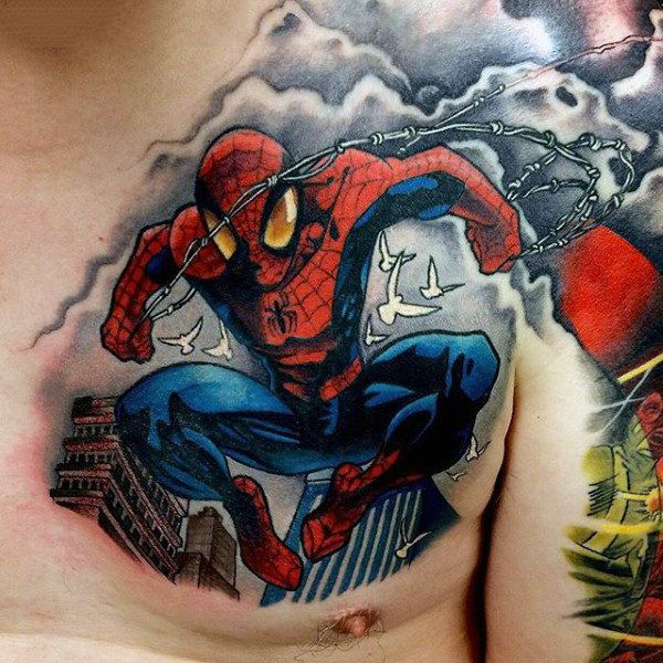 Flying Spiderman Tattoo Male Chest