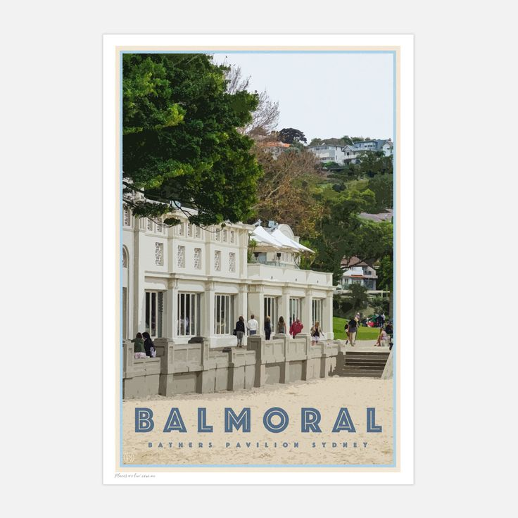 Balmoral beach travel style poster. bedroom framed art, living room art, dining room art, beach style decor, sydney's northern beaches,