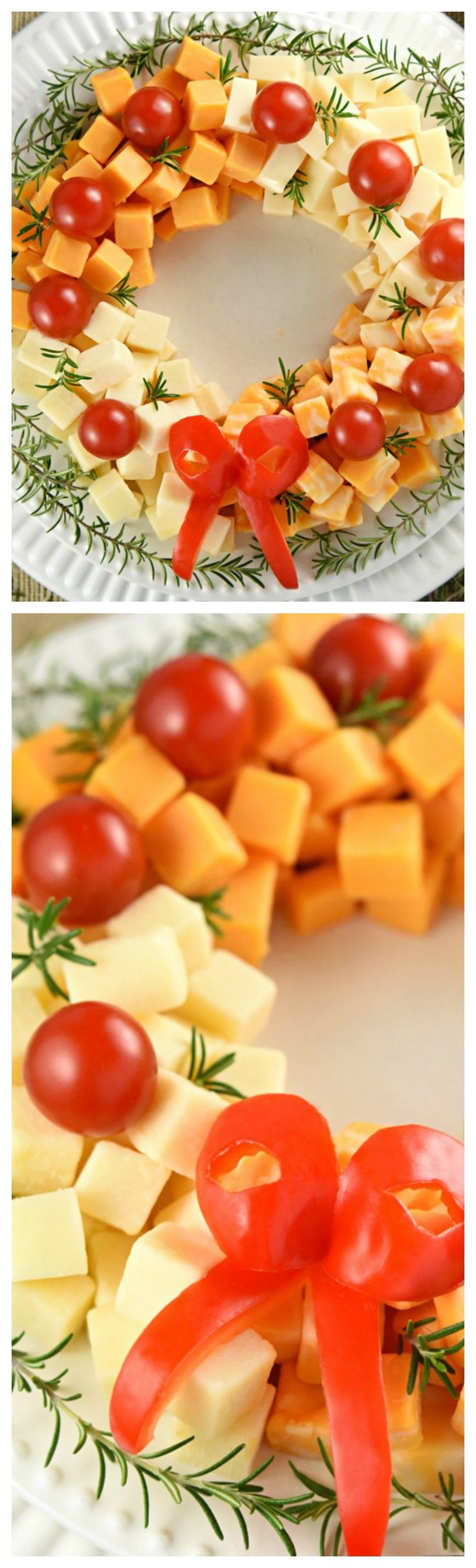 Holiday Cheese Wreath ~ An easy and festive Holiday Cheese Wreath party appetizer