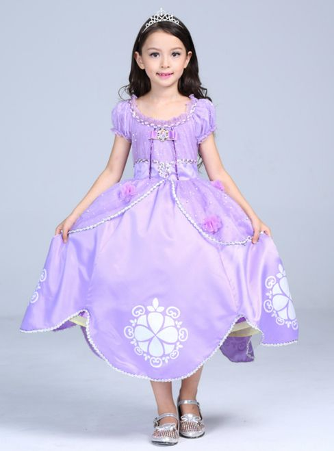870e4d550 In Stock Ship in 48 Hours Purple Satin Cap Sleeve Princess Sophia ...