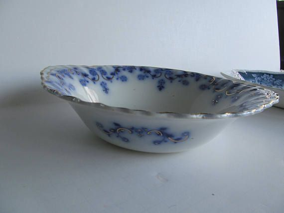Beautiful Flow Blue Bowl Flow Blue China Bowls  Blue and White