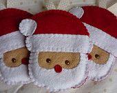 Handmade Felt Santa Ornaments