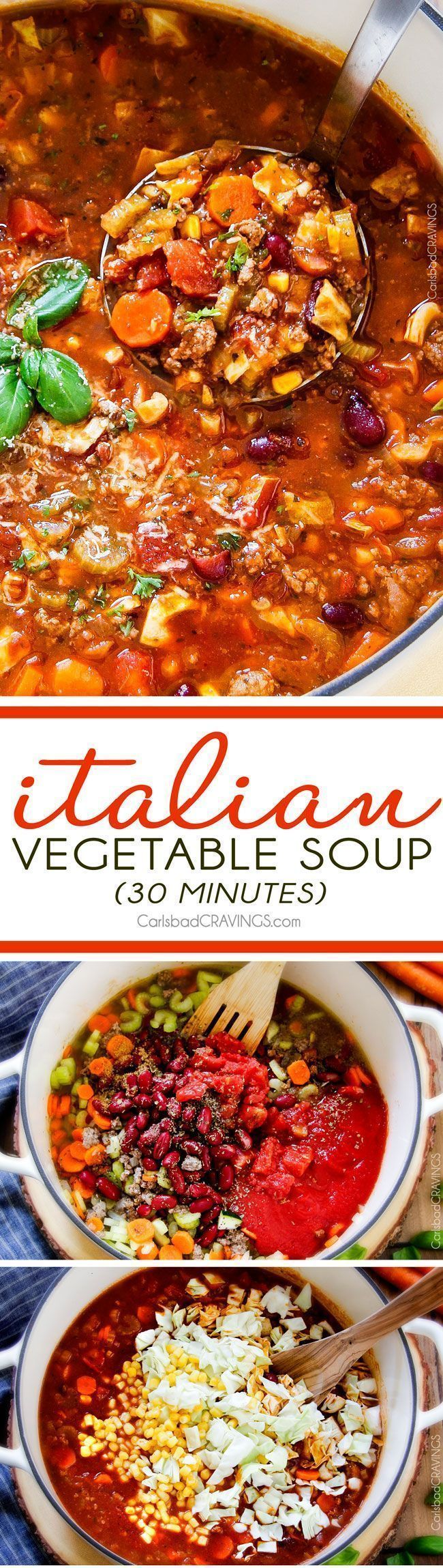30 minute Italian Vegetable Soup – This is the BEST version I have tried – my family begs me to make this soup!  hearty, comforting chunks of ground beef and veggies in an Italian spiced tomato broth  - SO good and easy!  via /carlsbadcraving/ #bestbeefbroth