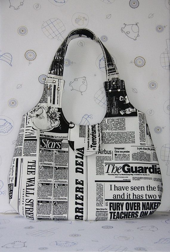 black white newspaper printed large hobo by leyyabags on Etsy, $45.00