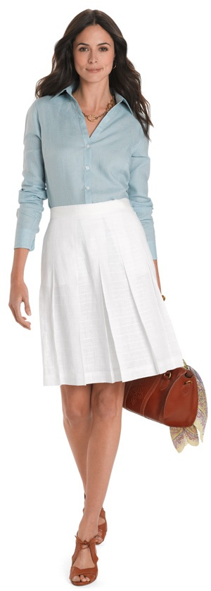White linen pleated skirt from Brooks Brothers.