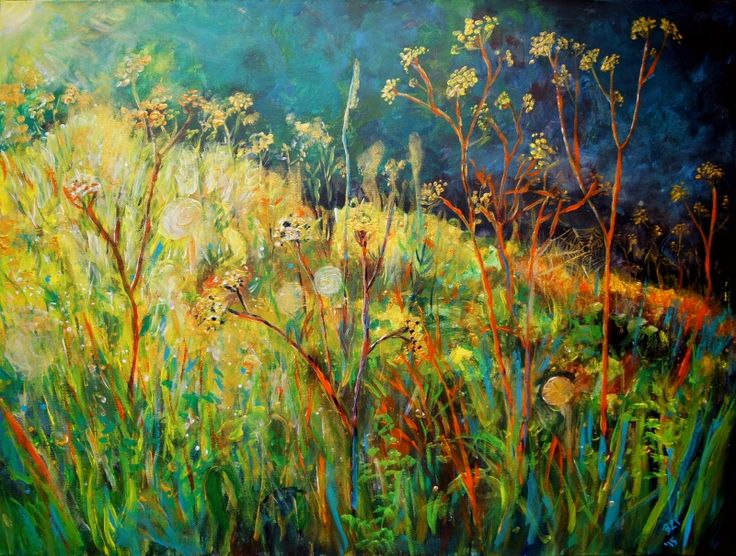 Late summer meadow - acrylic painting on canvas - borka-art.blogspot.com