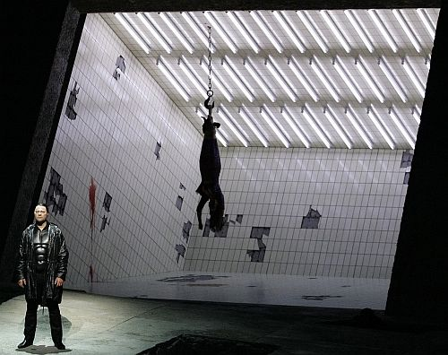 """Rene Pape (Orest) during a dress rehearsal of """"Elektra"""" in Salzburg, opening on August 12, to be conducted by Daniele Gatti, directed by Nikolaus Lehnhoff. Stage design by Raimund Bauer."""