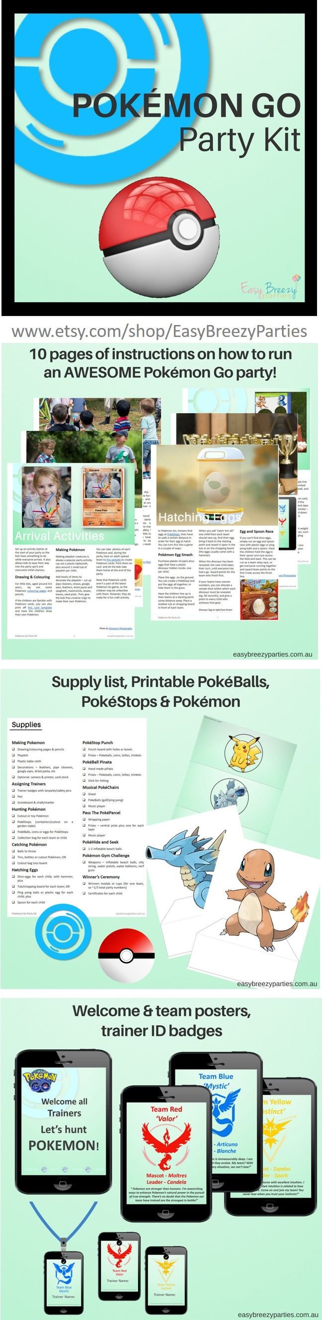 Pokemon Go party kit - loads of fun, energetic activities, with complete instructions for your Pokemon Go party. Includes printables. Download from https://www.etsy.com/listing/470978193/pokemon-go-party-kit-detailed-activity?ref=listing-shop-header-1 #easybreezyparties #pokemongo