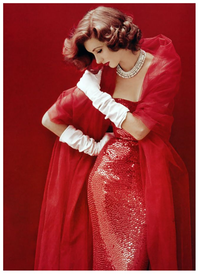 Suzy Parker in red sequined dress by Norman Norell, photo by Milton Greene, LIFE, September 1952 milton