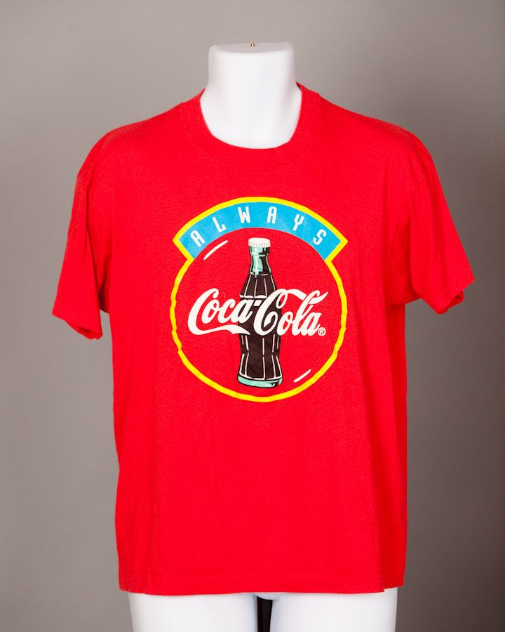 A personal favorite from my Etsy shop https://www.etsy.com/listing/522392985/vintage-80s-90s-always-coca-cola-red