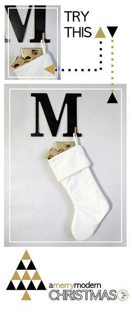 Merry Modern Xmas Monogram Stocking Hanger Tutorial by fabricpaperglue, via Flickr