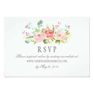 Classic Rose Garden Wedding RSVP Online Website Card