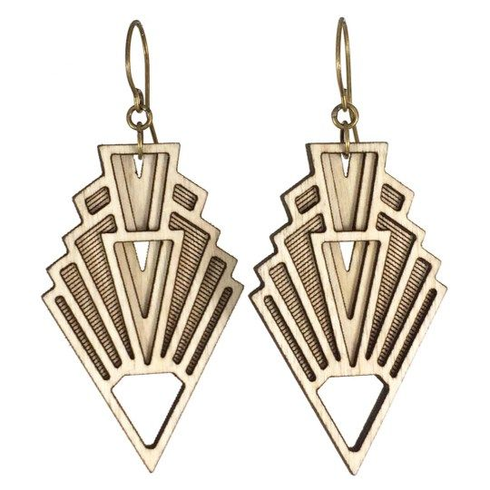 1920s Earrings, Laser Cut Wood Earrings - Diamonds Are Evil