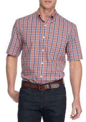 Saddlebred Orange Blue Big  Tall Shirt Sleeve Easy Care Plaid Shirt