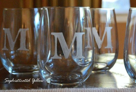 Etched Glassware. Etching paint and a stencil. Would make a nice little sweet nothing if given with a bottle of wine, etc