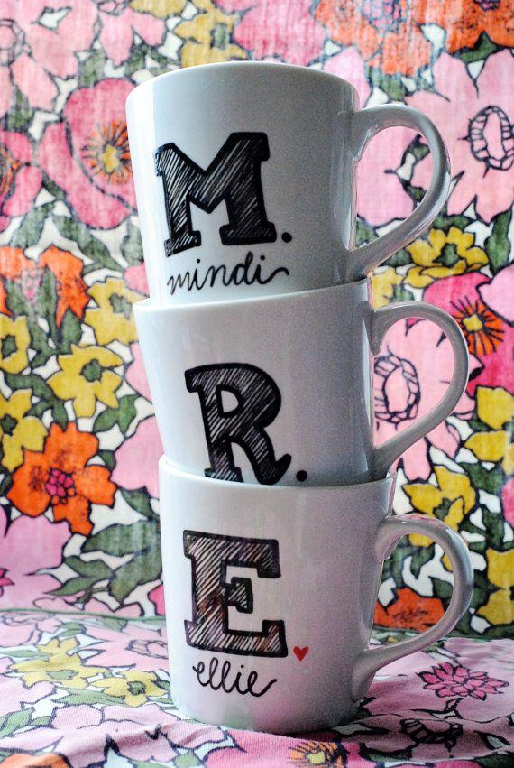 Monogrammed Coffee Mug Initial and Name by GreySkiesBlue on Etsy