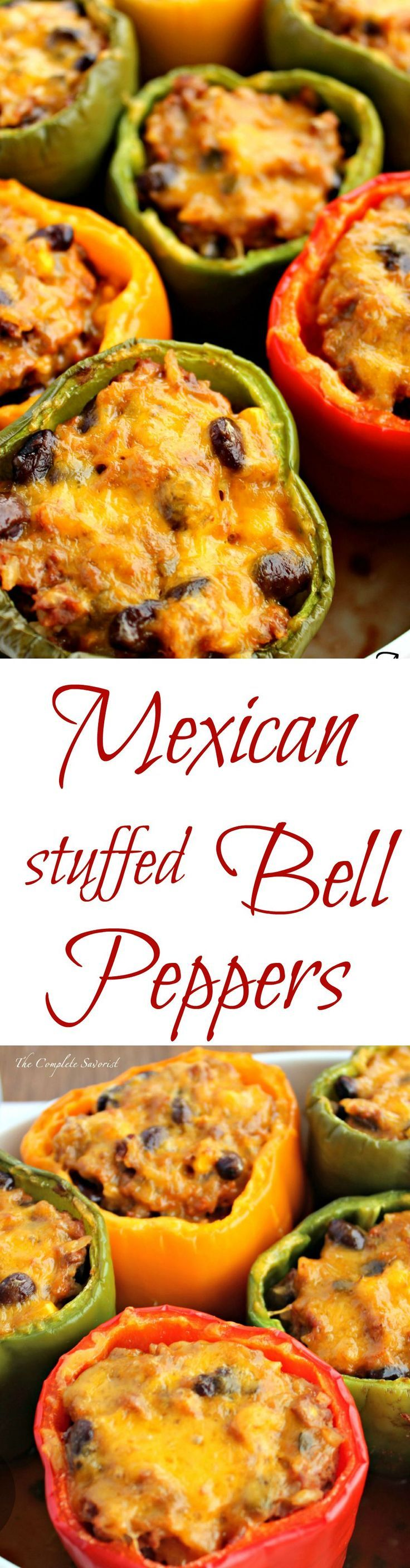 Mexican Stuffed Bell Peppers ~ Bell peppers stuffed with rice, black beans, corn, taco meat, and cheese. ~ The Complete Savorist