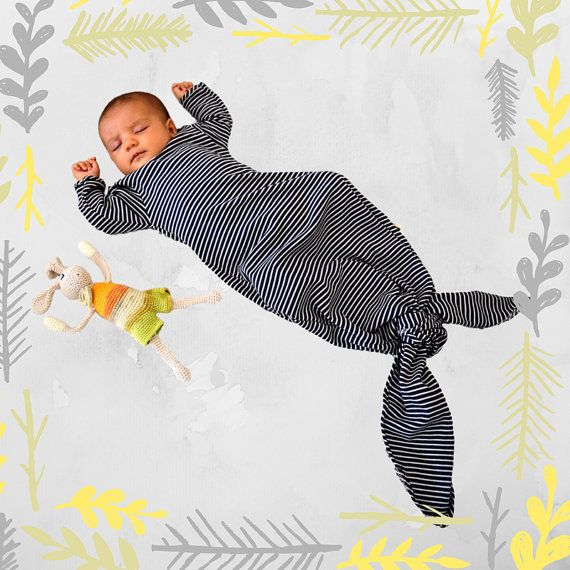 Orgánica bebé niño niña blanco y negro rayas saco  por BOXXkids