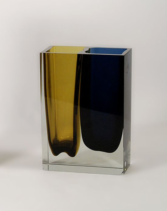 Martti Kankainen and Unto Suominen – Double vase, hand blown cut glass in blue, amber and clear, Nuutajarvi, 1968