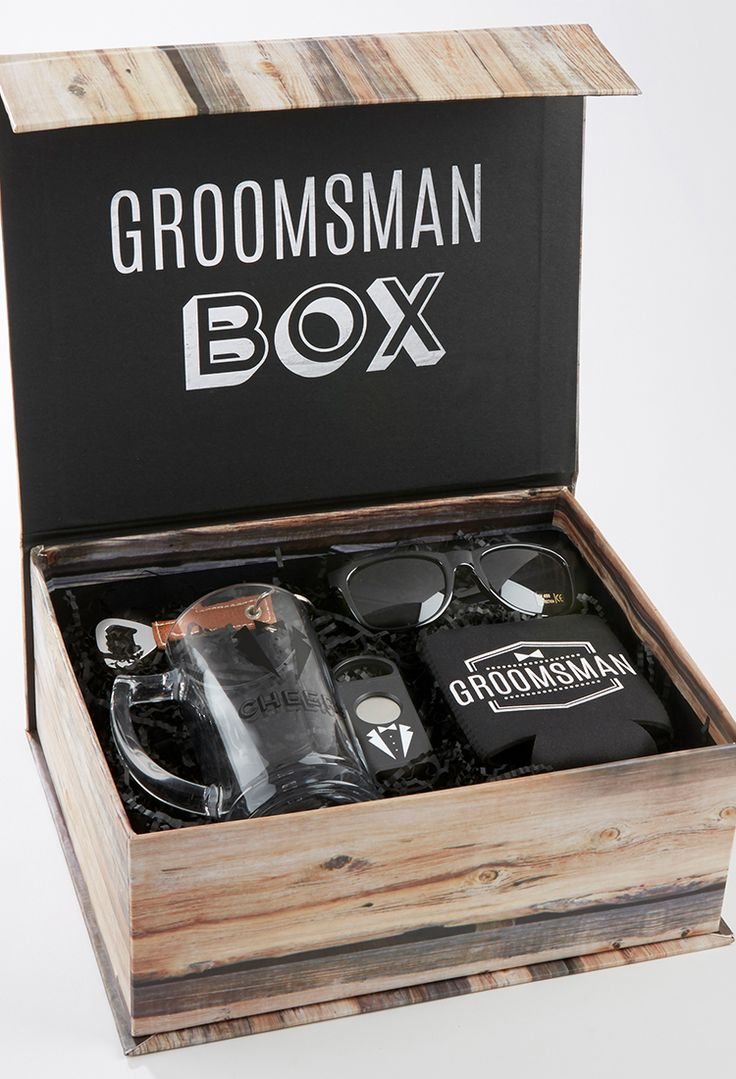 This kit includes an insulated drink sleeve, beer mug, cigar cutter, key chain bottle opener, and a pair of sunglasses all presented together in a sleeved box with shrink wrap ready to gift.   Groomsman Kit   My Wedding Favors