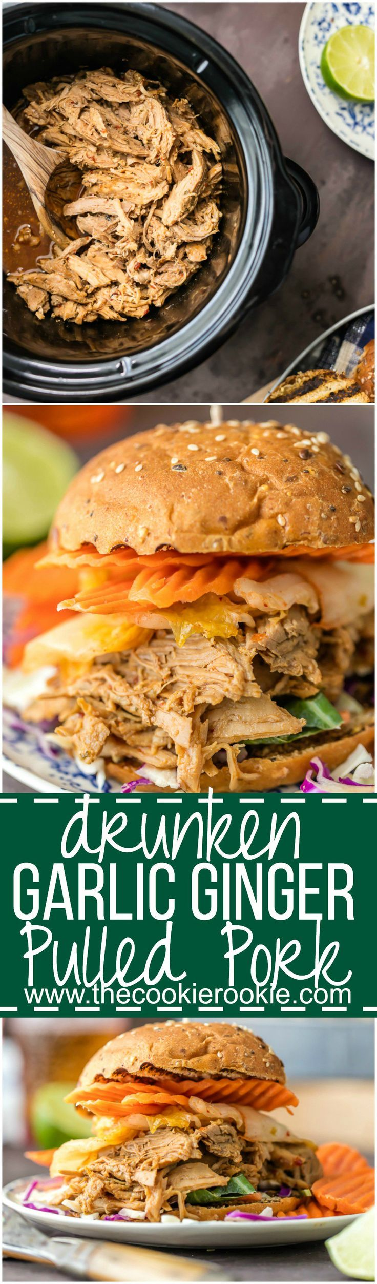 Wow the family with SLOW COOKER DRUNKEN GARLIC GINGER PULLED PORK SANDWICHES! Made in a crockpot with ginger beer! DELICIOUS way to tailgate or enjoy an easy recipe at home! @crabbiesusa #CrabbieTime