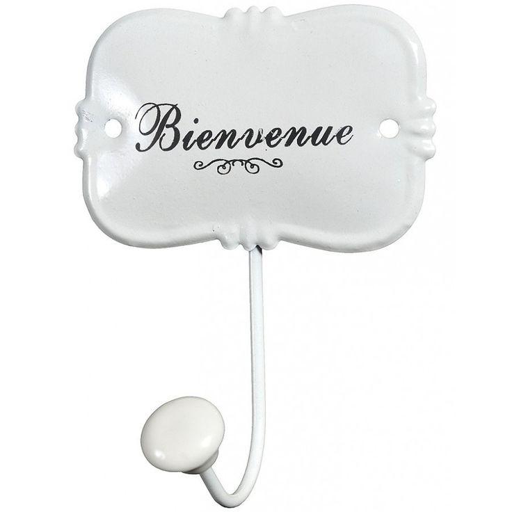 Biały metalowy wieszaczek marki belldeco. Swoim eleganckim wykonaniem wprowadzi prowansalski styl na przykład do łazienki.