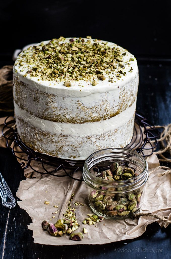 Coconut Semolina Naked Cake with Pineapple Curd and Pistachio Cream Recipe