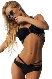 Solid Color Bandage Tie-Up Bikini Set