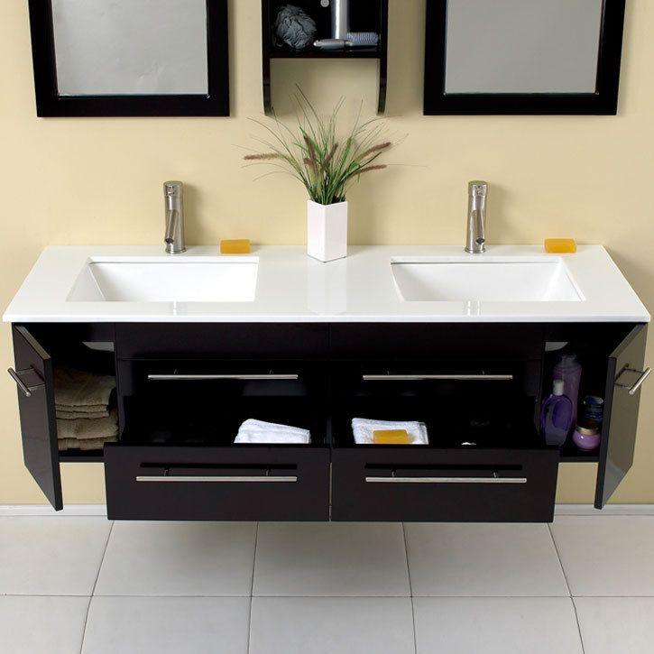 modern bathroom fountain valley reviews%0A Fresca Bellezza Espresso Modern Double Sink Bathroom Vanity   BathroomVanitiesOnly com