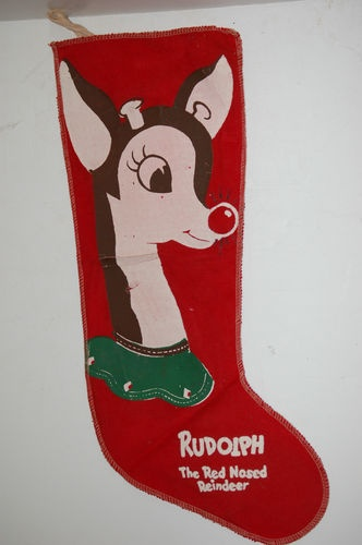 Antique Vtg Rudolph red nose reindeer Christmas Stocking 1940's Montgomery Wards