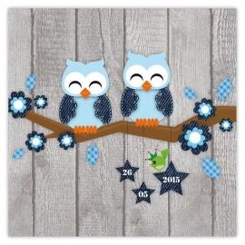 Geboortekaartje tweeling uiltjes jongens! Babycard twins owl