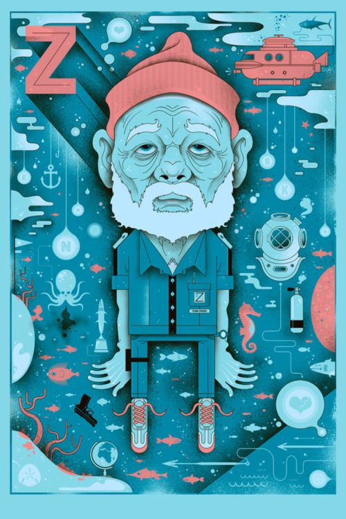 "Graham Erwin ""Zissou"" Bill Murray Print"